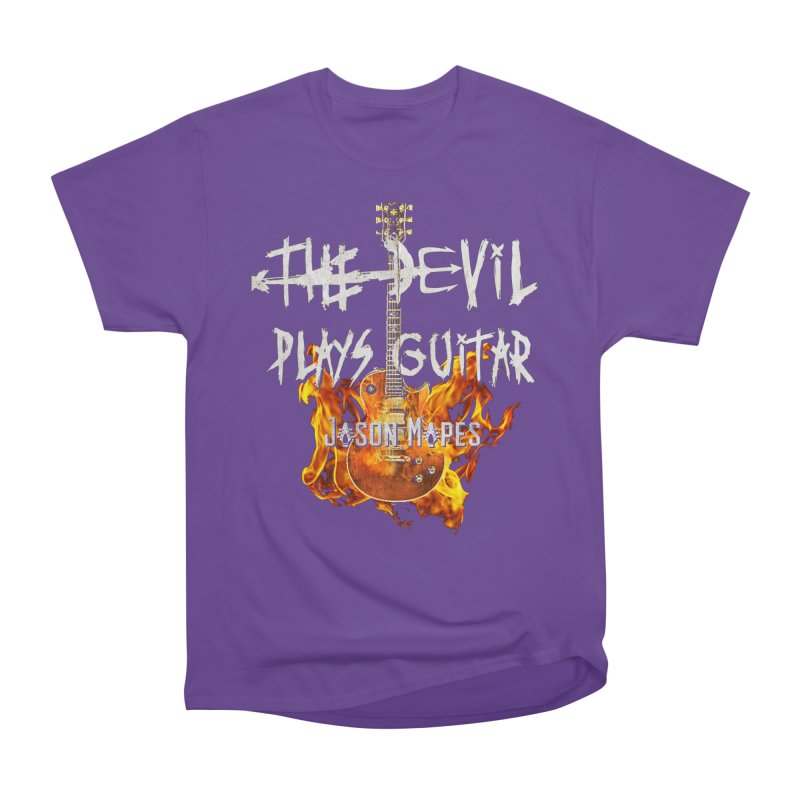 The Devil Plays Guitar Fire Logo Men's Heavyweight T-Shirt by Jason Mapes Online Swag Shop