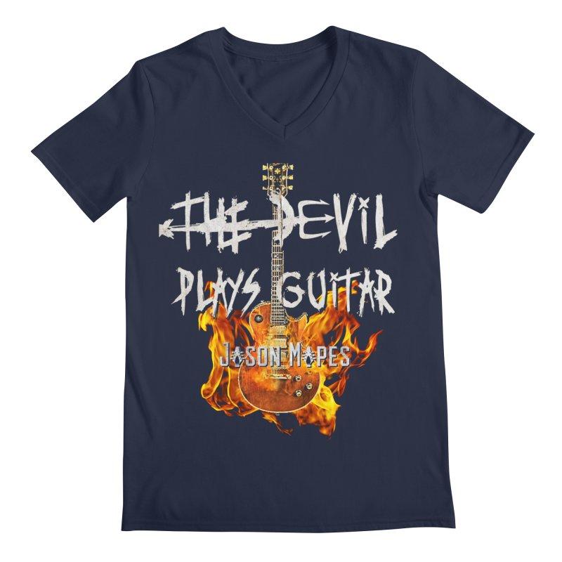 The Devil Plays Guitar Fire Logo Men's V-Neck by Jason Mapes Online Swag Shop