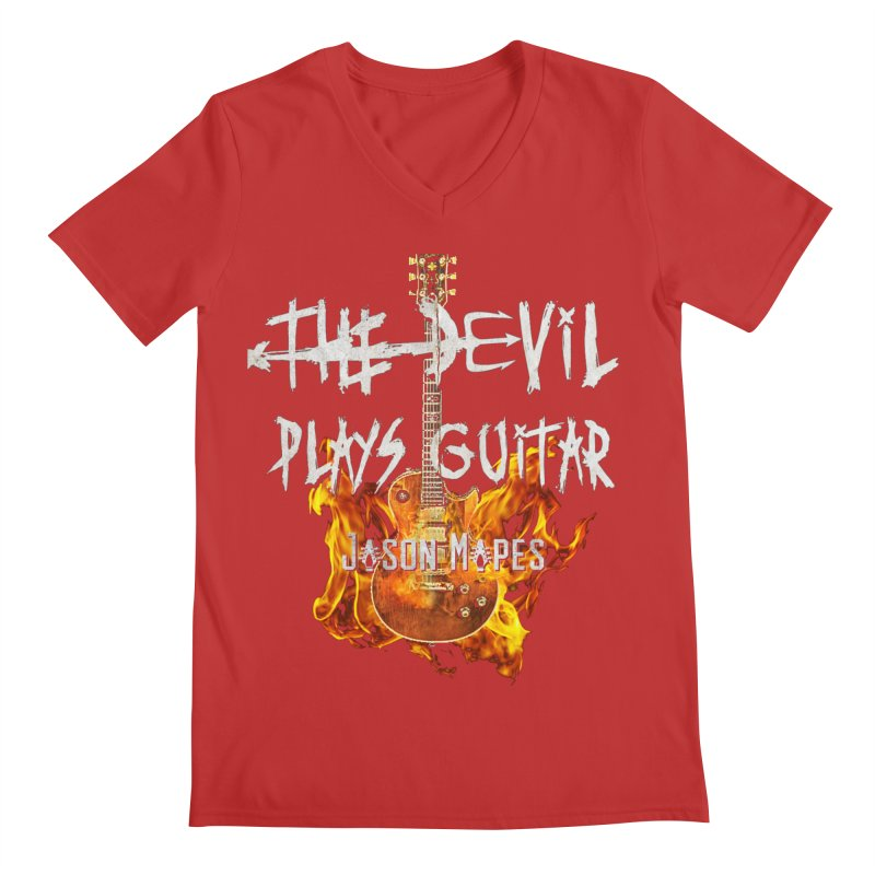 The Devil Plays Guitar Fire Logo Men's V-Neck by Jason Mapes Online Swag Shop