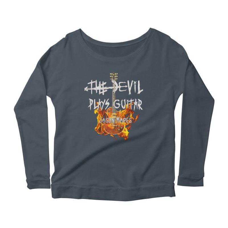 The Devil Plays Guitar Fire Logo Women's Scoop Neck Longsleeve T-Shirt by Jason Mapes Online Swag Shop
