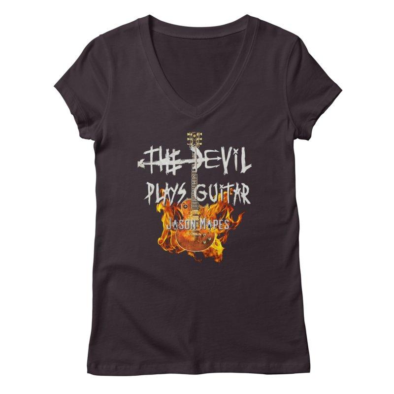 The Devil Plays Guitar Fire Logo Women's Regular V-Neck by Jason Mapes Online Swag Shop