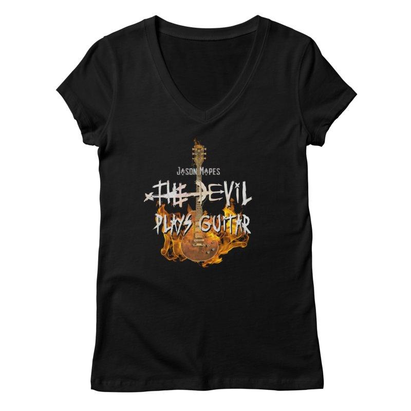 Jason Mapes The Devil Plays Guitar Logo Women's V-Neck by Jason Mapes Online Swag Shop