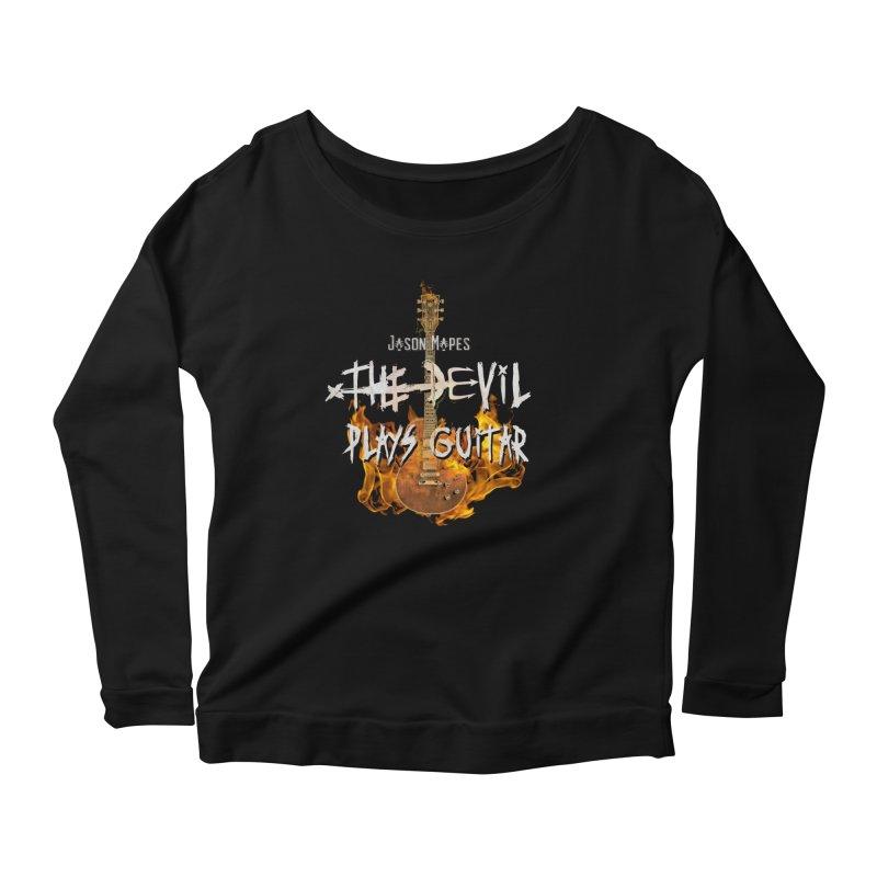 Jason Mapes The Devil Plays Guitar Logo Women's Scoop Neck Longsleeve T-Shirt by Jason Mapes Online Swag Shop