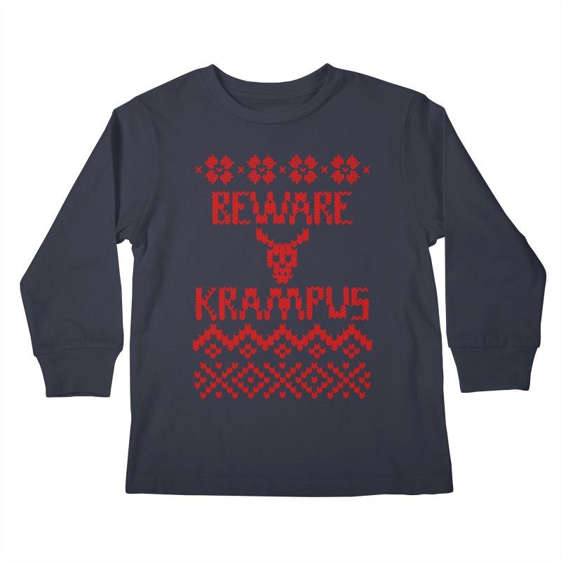 BEWARE KRAMPUS ugly sweater Red Kids Longsleeve T-Shirt by jasonmartian's Artist Shop
