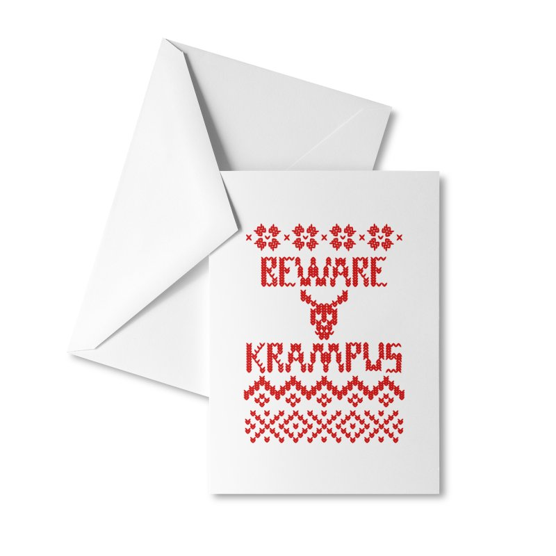 BEWARE KRAMPUS ugly sweater Red Accessories Greeting Card by The Artist Shop of Jason Martian