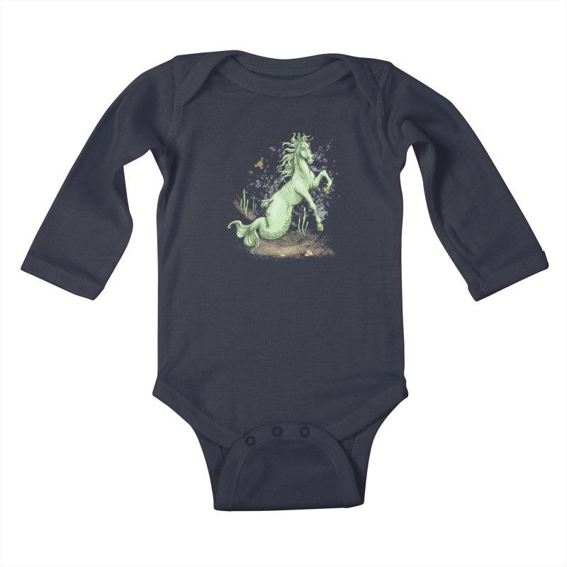 Sea Horse Kids Baby Longsleeve Bodysuit by The Artist Shop of Jason Martian