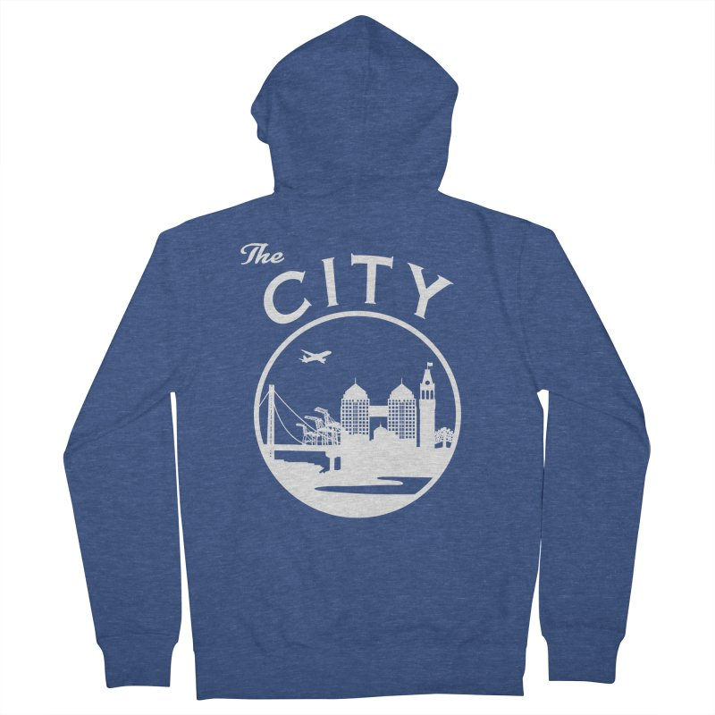 THE CITY of Oakland (white) Men's Zip-Up Hoody by The Artist Shop of Jason Martian