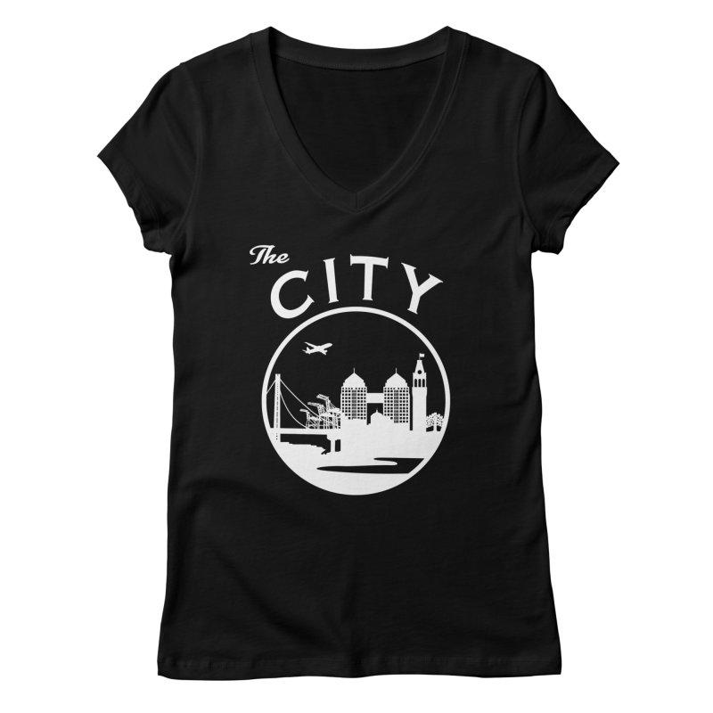 THE CITY of Oakland (white) Women's V-Neck by The Artist Shop of Jason Martian