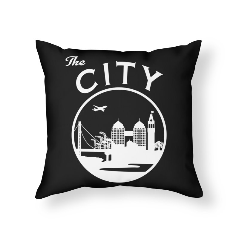 THE CITY of Oakland (white) Home Throw Pillow by The Artist Shop of Jason Martian