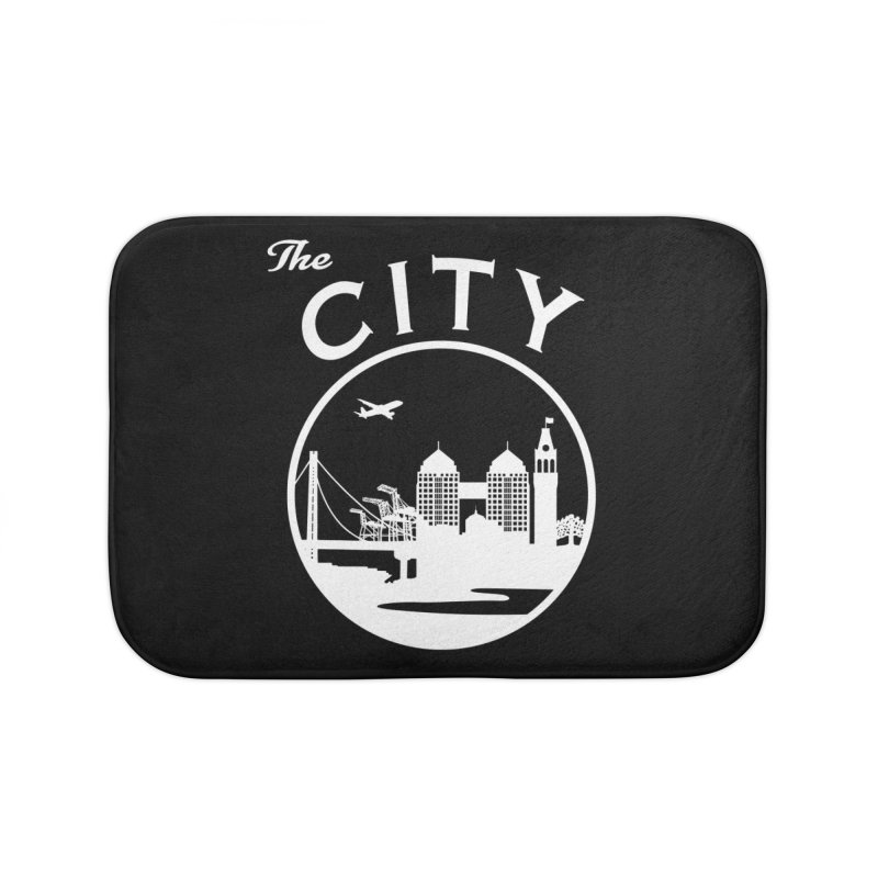 THE CITY of Oakland (white) Home Bath Mat by The Artist Shop of Jason Martian
