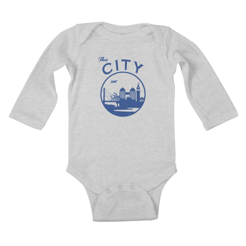 THE CITY of Oakland (Blue) Kids Baby Longsleeve Bodysuit by The Artist Shop of Jason Martian