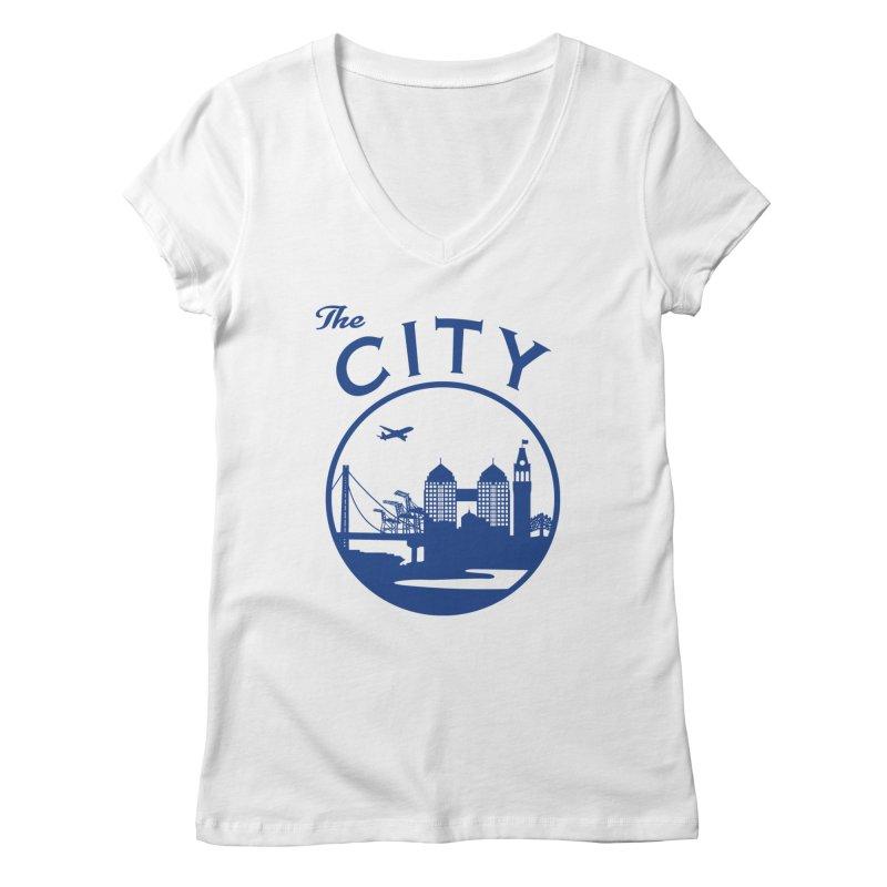 THE CITY of Oakland (Blue) Women's V-Neck by The Artist Shop of Jason Martian