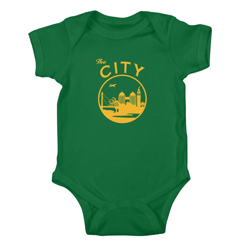 THE CITY of Oakland (Gold) Kids Baby Bodysuit by The Artist Shop of Jason Martian