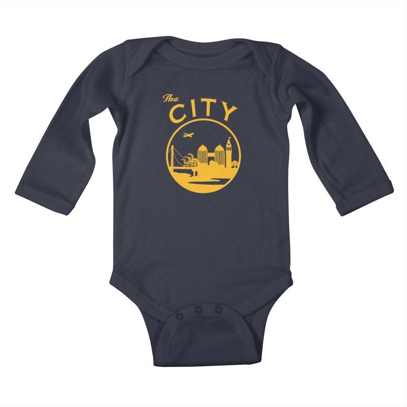 THE CITY of Oakland (Gold) Kids Baby Longsleeve Bodysuit by The Artist Shop of Jason Martian