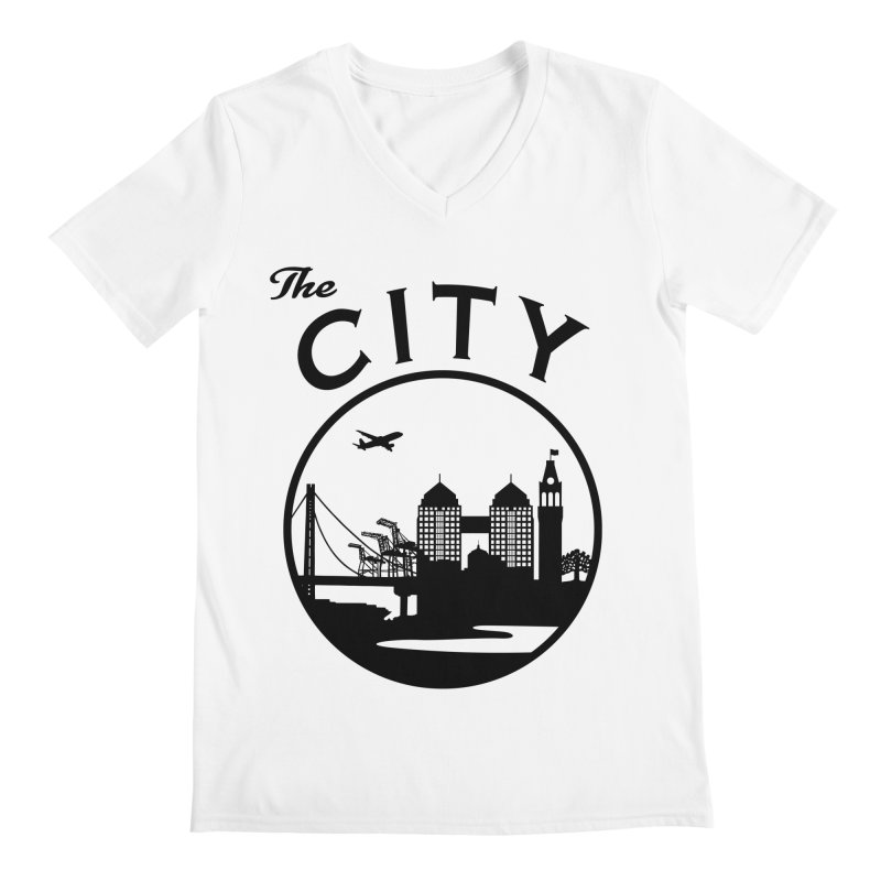 THE CITY of Oakland (Black) Men's V-Neck by The Artist Shop of Jason Martian