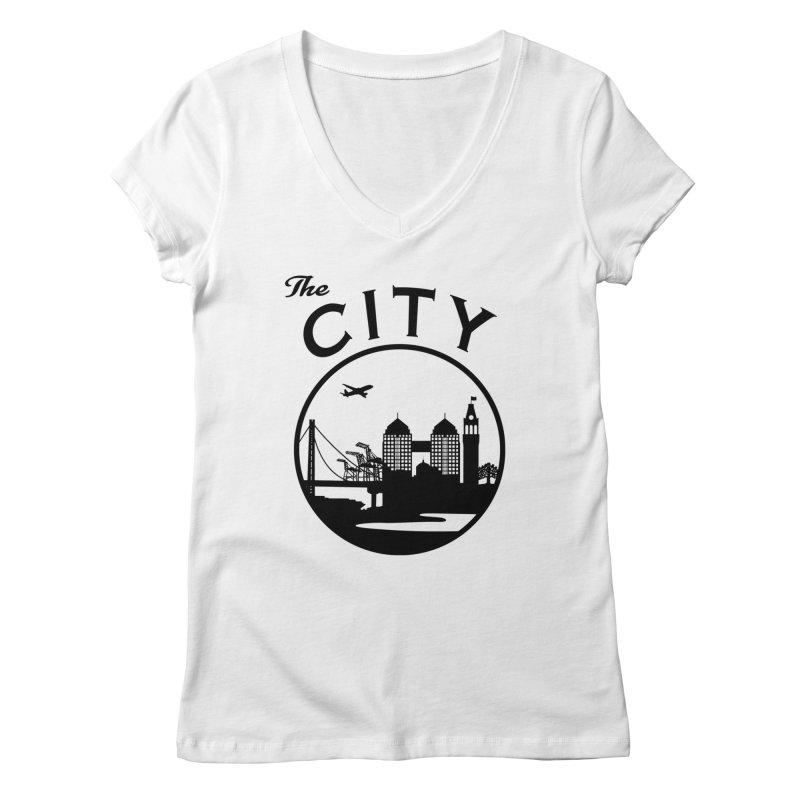 THE CITY of Oakland (Black) Women's V-Neck by The Artist Shop of Jason Martian