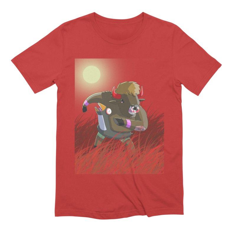 Were Bison In Blood Red Fields Men's T-Shirt by jasonmayart's Artist Shop