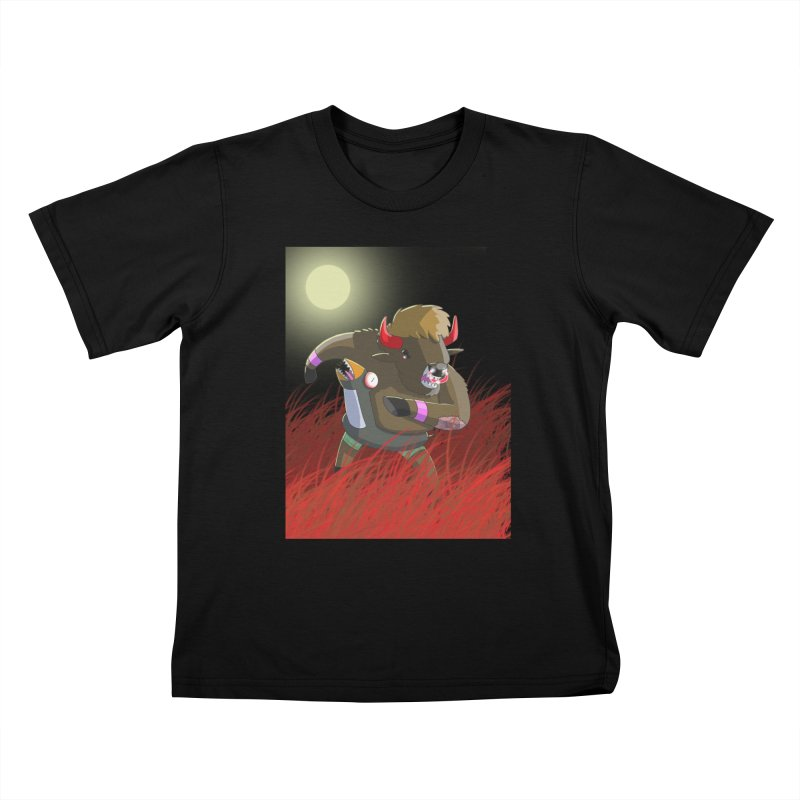 Were Bison In Blood Red Fields Kids T-Shirt by jasonmayart's Artist Shop