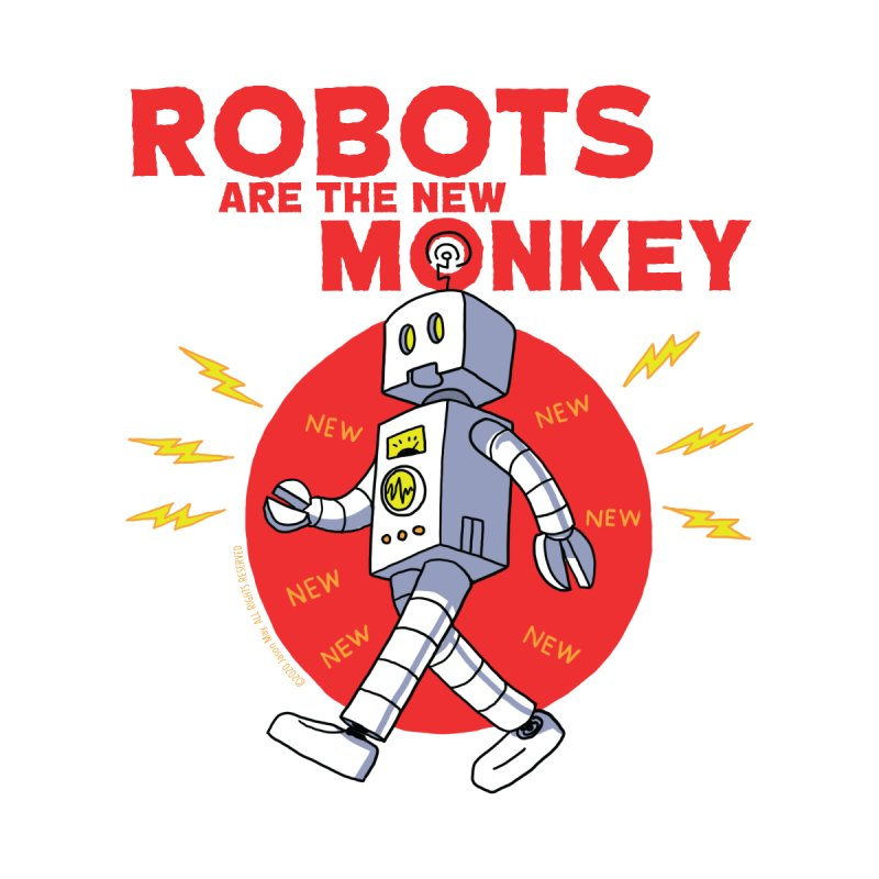 Robots Are The New Monkey! Men's Zip-Up Hoody by jasonmayart's Artist Shop