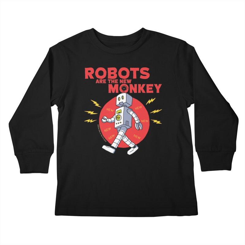 Robots Are The New Monkey! Kids Longsleeve T-Shirt by jasonmayart's Artist Shop