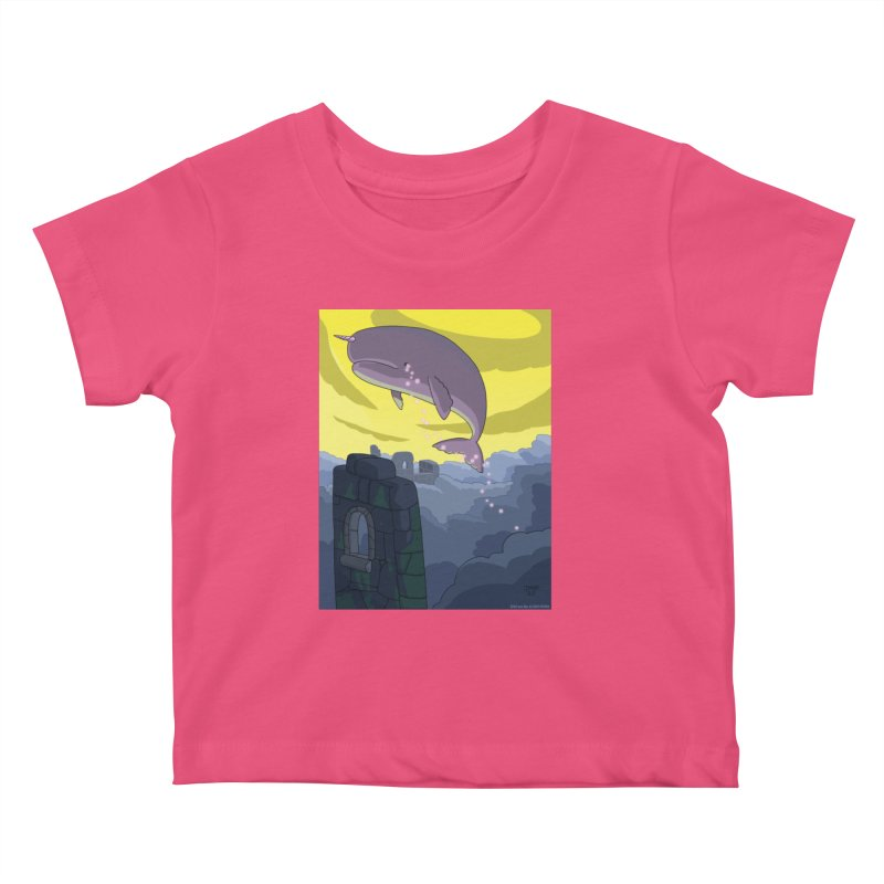 Enchanted Whale Crying Flowers Kids Baby T-Shirt by jasonmayart's Artist Shop