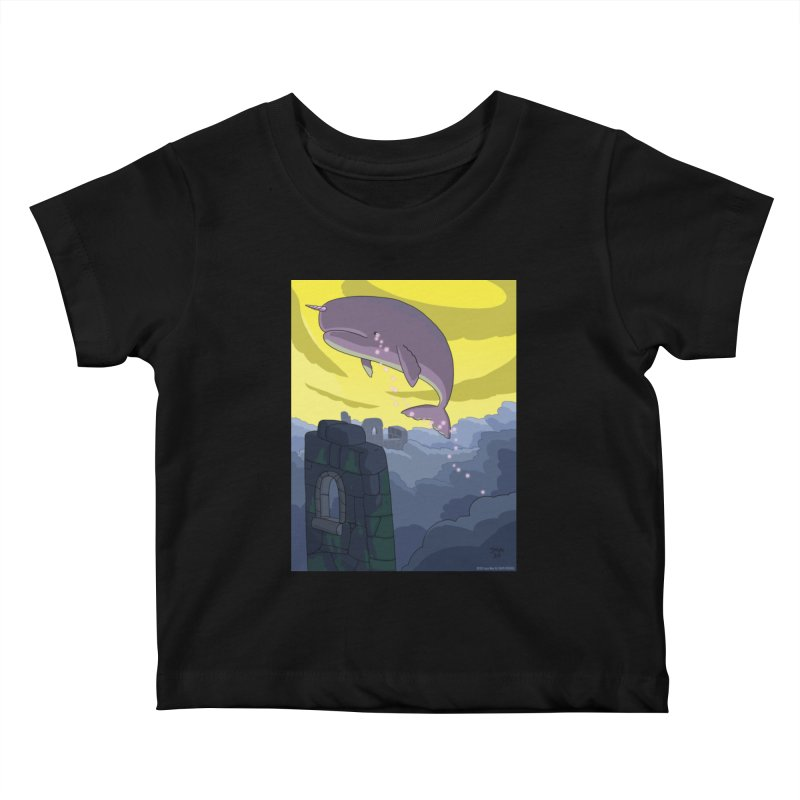 Enchanted Whale Crying Flowers Kids Baby T-Shirt by jasonmayart's Artist Shop