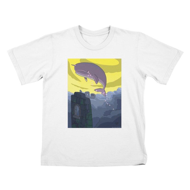 Enchanted Whale Crying Flowers Kids T-Shirt by jasonmayart's Artist Shop