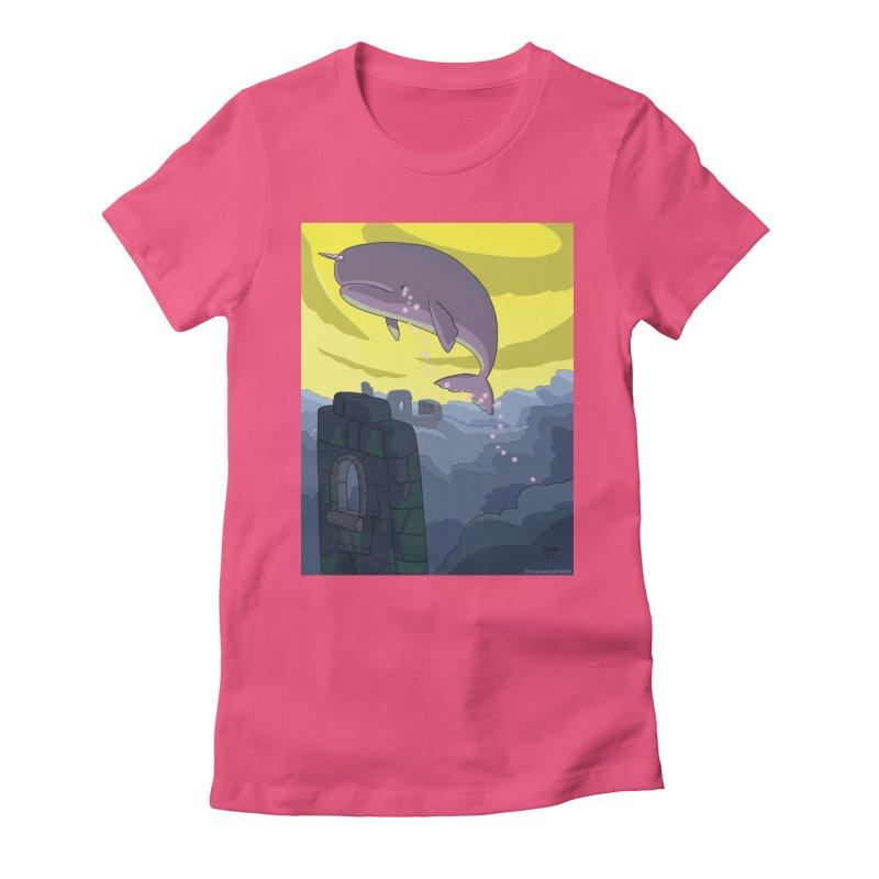Enchanted Whale Crying Flowers Women's T-Shirt by jasonmayart's Artist Shop