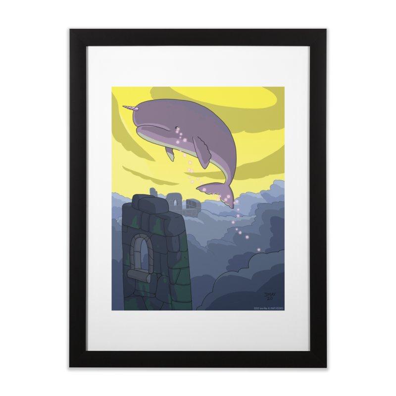 Enchanted Whale Crying Flowers Home Framed Fine Art Print by jasonmayart's Artist Shop