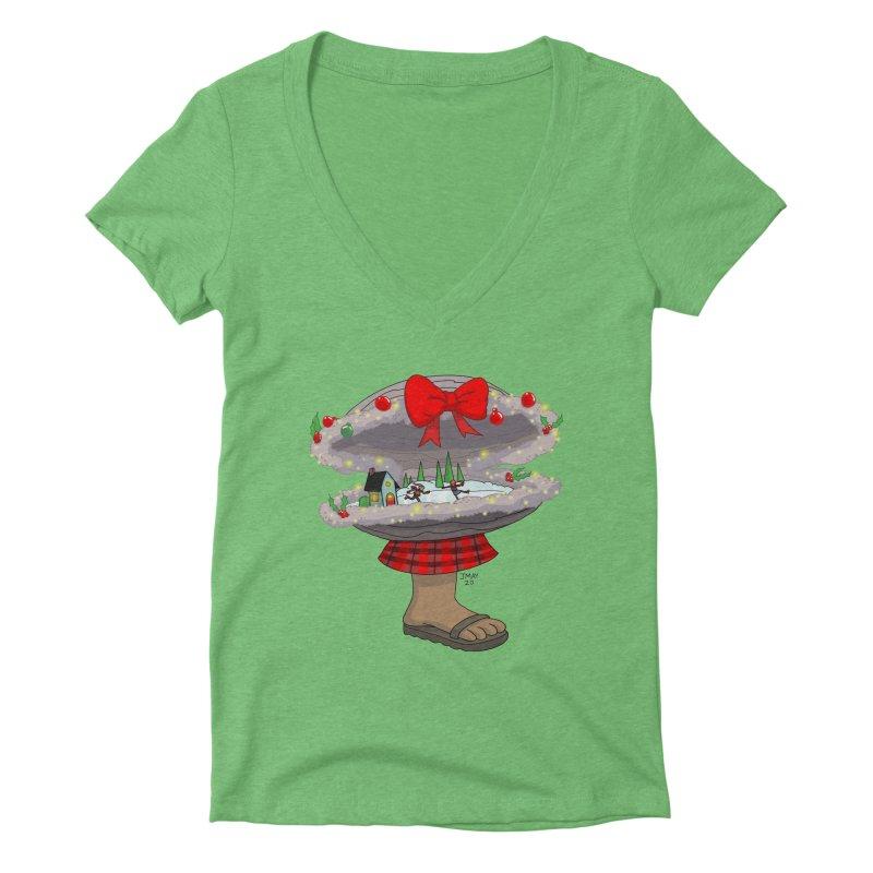 Valvie The Christmas Clam Women's V-Neck by jasonmayart's Artist Shop