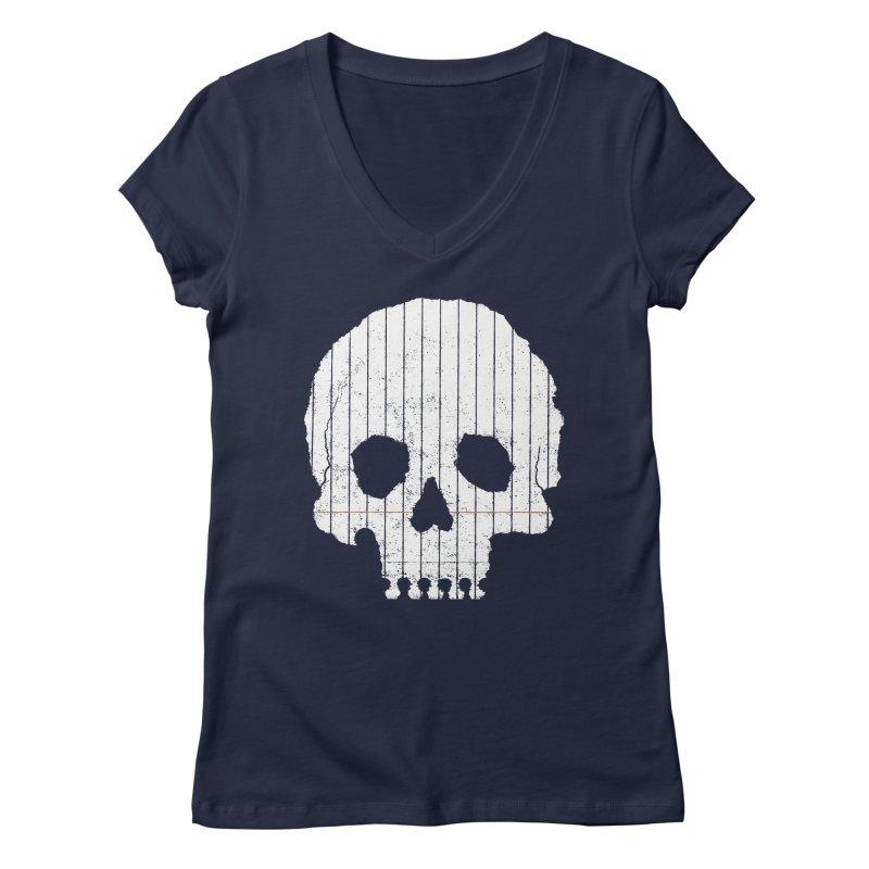 Paper Skull Women's V-Neck by Jason McDade