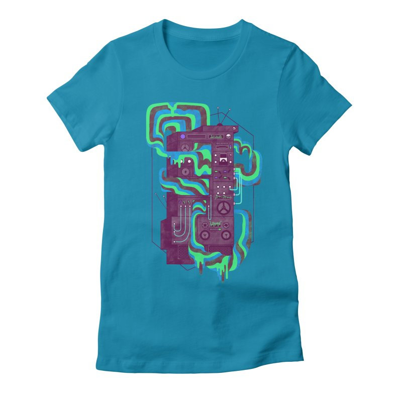 Magic Stereo Women's Fitted T-Shirt by Jaxxer Apparel