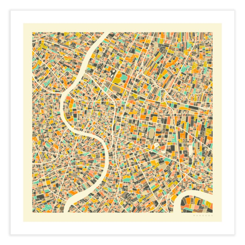 BANGKOK MAP in Fine Art Print by Jazzberry Blue's Artist Shop