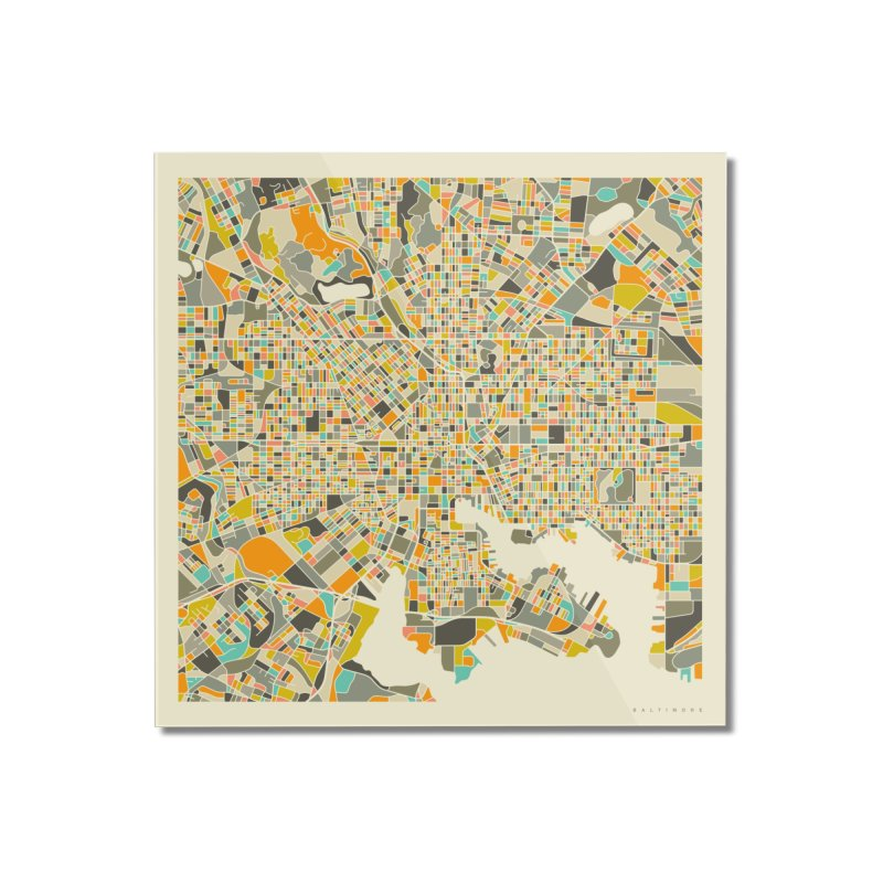 BALTIMORE MAP Home Mounted Acrylic Print by Jazzberry Blue's Artist Shop