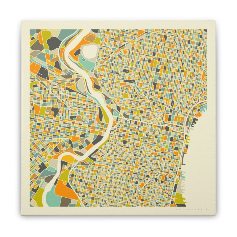 PHILADELPHIA MAP Home Stretched Canvas by Jazzberry Blue's Artist Shop