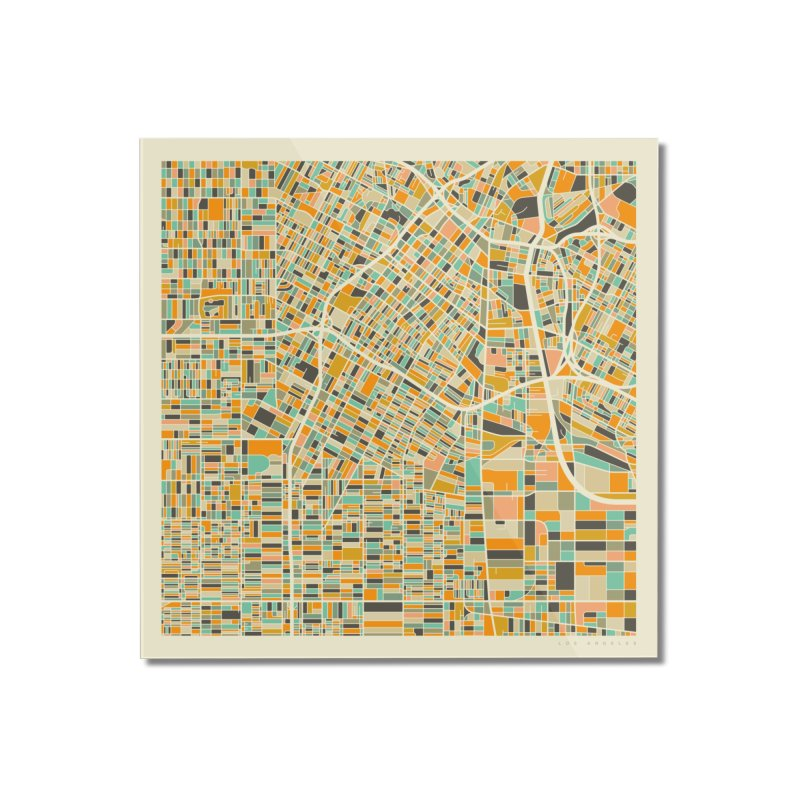 LOS ANGELES MAP Home Mounted Acrylic Print by Jazzberry Blue's Artist Shop