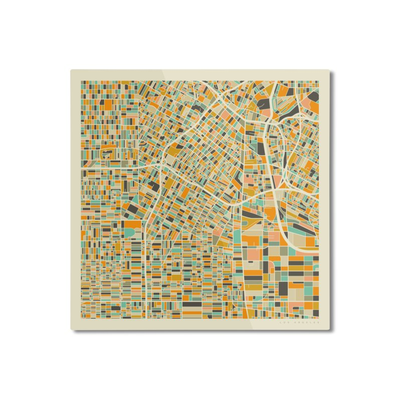 LOS ANGELES MAP Home Mounted Aluminum Print by Jazzberry Blue's Artist Shop