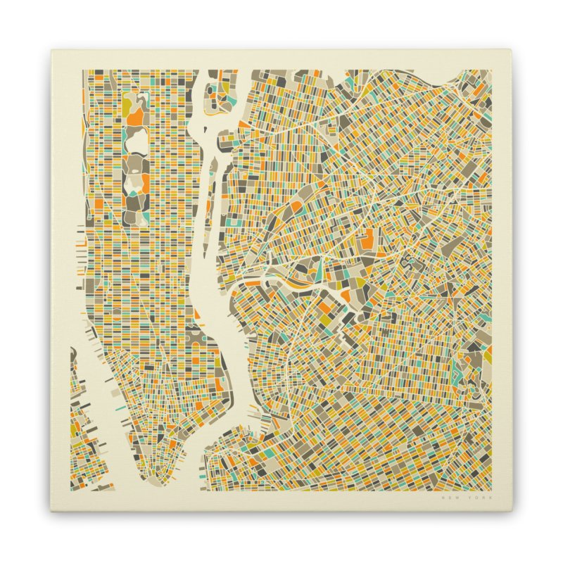 NEW YORK MAP Home Stretched Canvas by Jazzberry Blue's Artist Shop