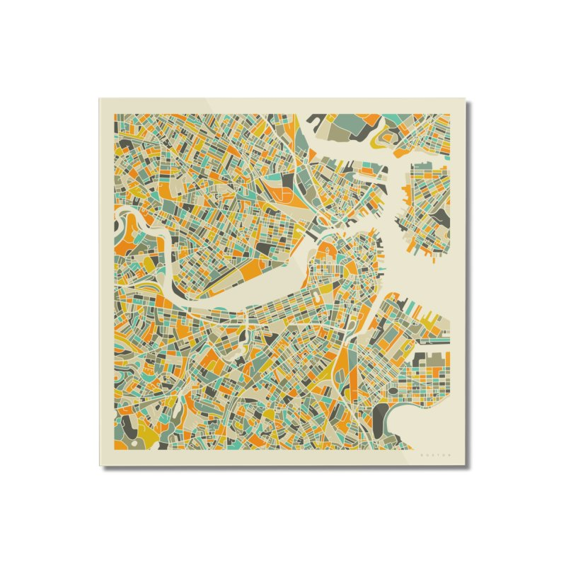 BOSTON MAP Home Mounted Acrylic Print by Jazzberry Blue's Artist Shop