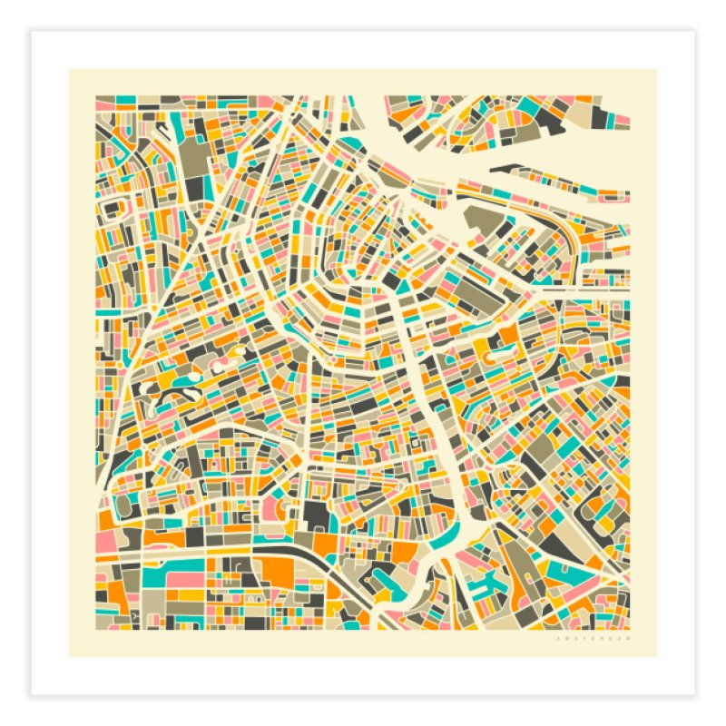 AMSTERDAM MAP Home Fine Art Print by Jazzberry Blue's Artist Shop
