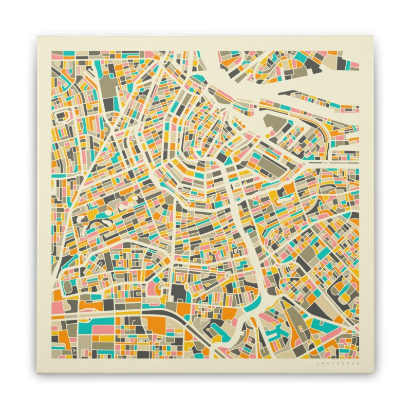 AMSTERDAM MAP Home Stretched Canvas by Jazzberry Blue's Artist Shop