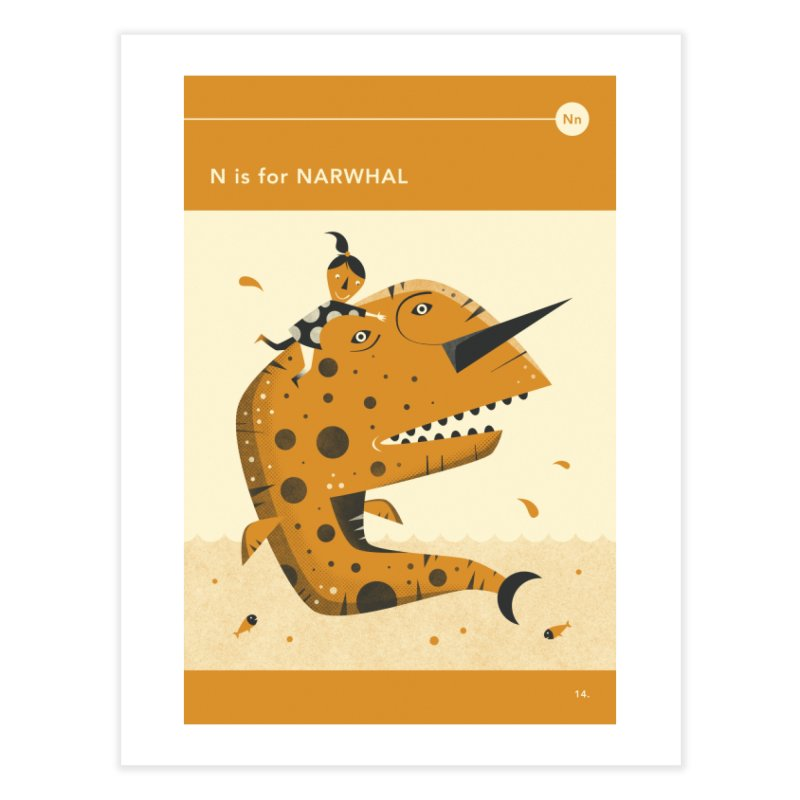 N IS FOR NARWHAL in Fine Art Print by Jazzberry Blue's Artist Shop