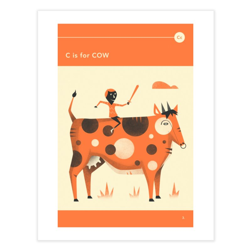 C IS FOR COW Home Fine Art Print by Jazzberry Blue's Artist Shop