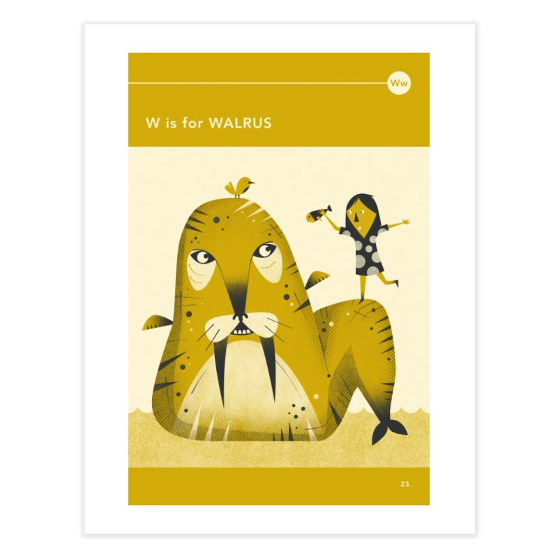 W IS FOR WALRUS Home Fine Art Print by Jazzberry Blue's Artist Shop