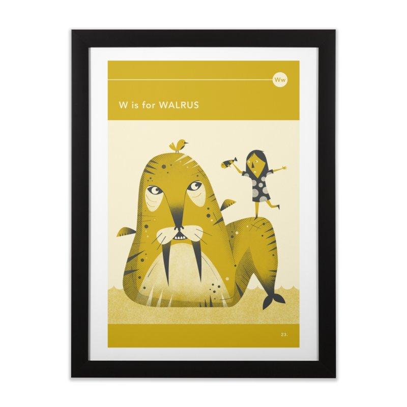 W IS FOR WALRUS Home Framed Fine Art Print by Jazzberry Blue's Artist Shop