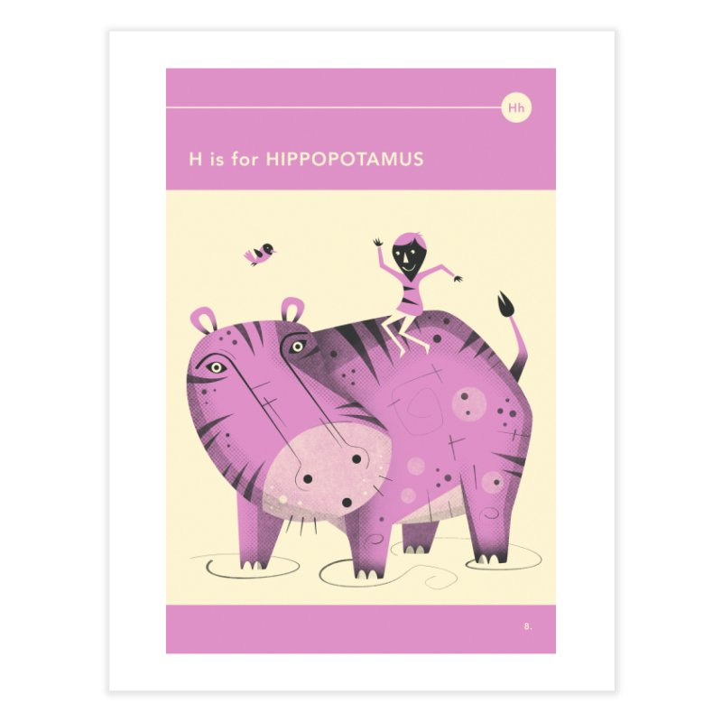 H IS FOR HIPPOPOTAMUS Home Fine Art Print by Jazzberry Blue's Artist Shop