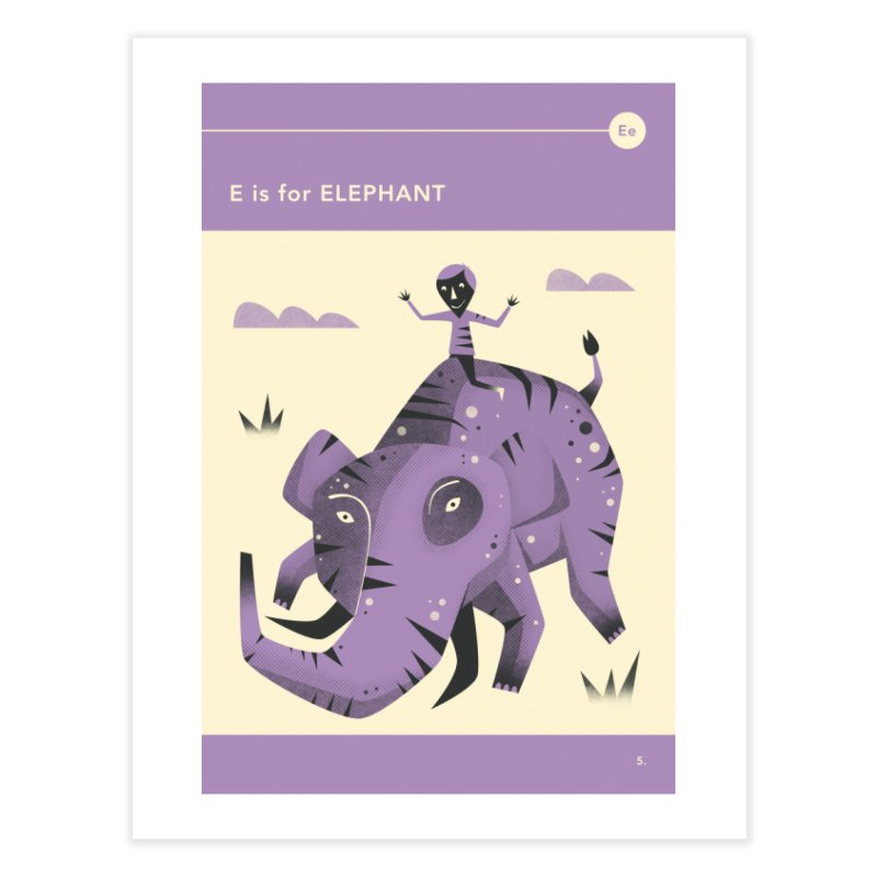 E IS FOR ELEPHANT Home Fine Art Print by Jazzberry Blue's Artist Shop
