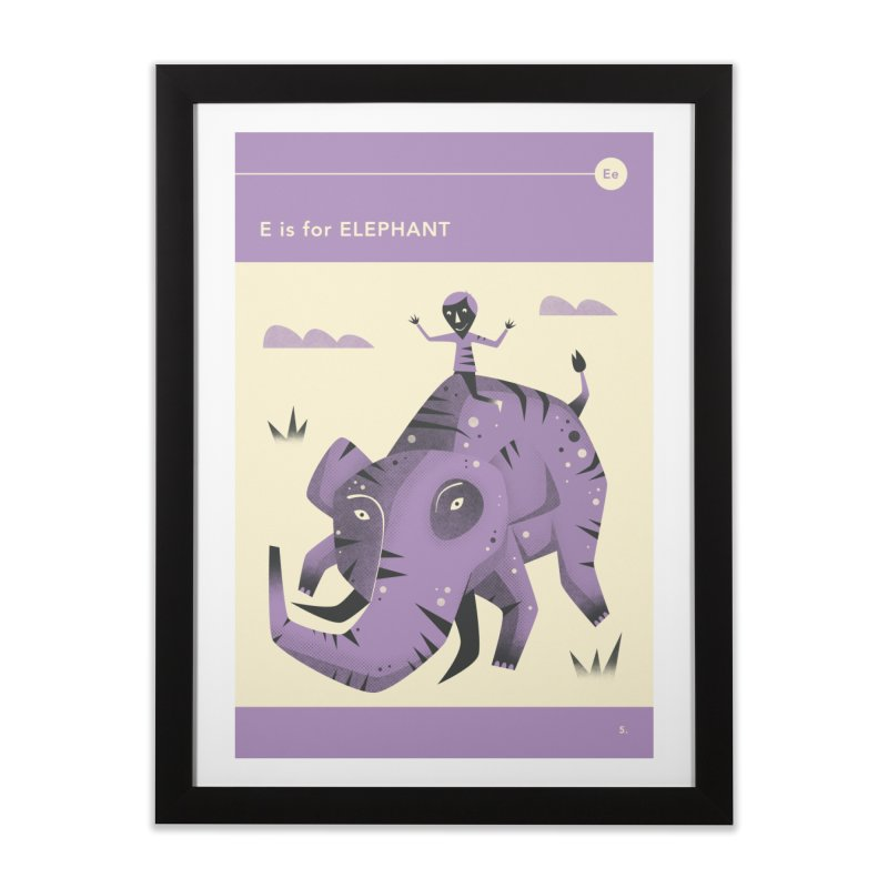 E IS FOR ELEPHANT Home Framed Fine Art Print by Jazzberry Blue's Artist Shop