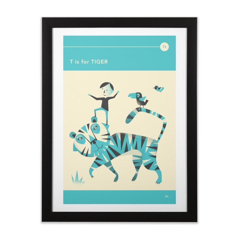 T IS FOR TIGER Home Framed Fine Art Print by Jazzberry Blue's Artist Shop