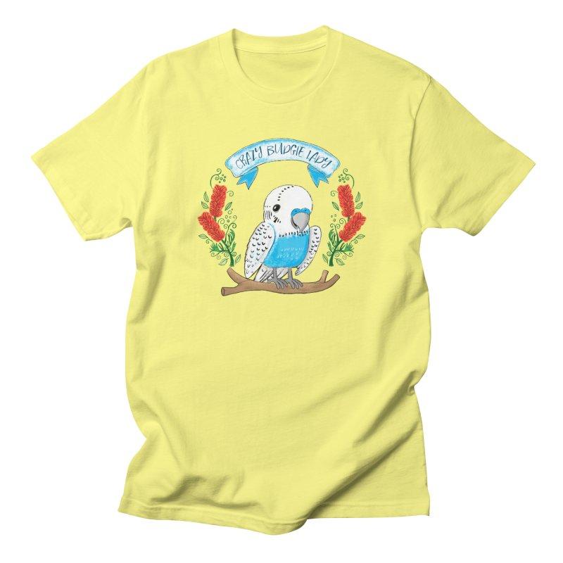 Crazy Budgie lady Men's T-shirt by JAZZYDEVIL DESIGNZ